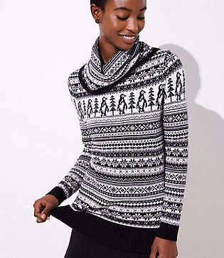 LOFT Petite Penguin Fairisle Sweater