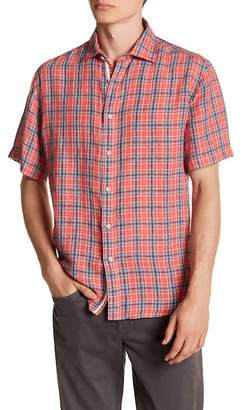 James Tattersall Short Sleeve Plaid Linen Classic Fit Shirt