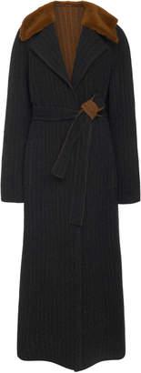 J. Mendel Double Faced Striped Wool Coat Size: 6