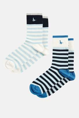 Jack Wills Appletree Stripe 2 Pack Socks