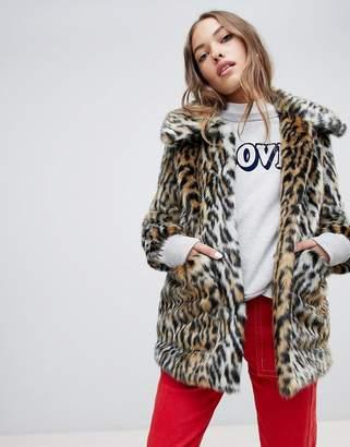 Jakke mid length faux fur coat in leopard