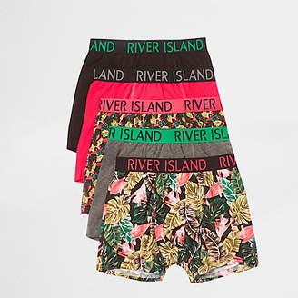 River Island Boys pink tropical print trunks multipack