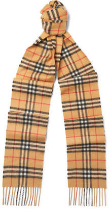 Burberry Fringed Checked Brushed-Cashmere Scarf