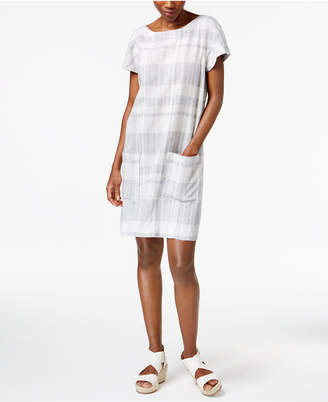 Eileen Fisher Organic Cotton-Linen Blend Boat-Neck Striped Shift Dress, Regular & Petite $248 thestylecure.com