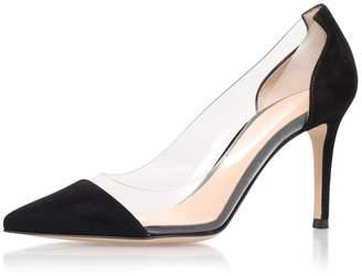 clear ViViKiKi Women's 80mm Spike Heel Cap Toe PVC Pumps Slip On Suede Dress Shoes US7