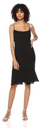 Milly Women's Washed Stretch Silk Slim Mandy Dress Ruffle Hem
