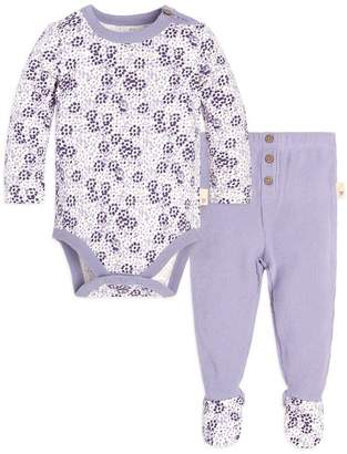 Burt's Bees Dotty Blooms Organic Baby Cotton Bodysuit & Thermal Footed Pant Set