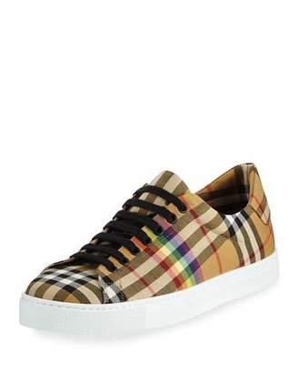Burberry Men's Albert Rainbow Check Sneakers