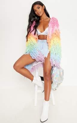 PrettyLittleThing Pastel Shaggy Knit 3/4 Length Cardigan
