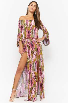Forever 21 Leaf Print Off-the-Shoulder Maxi Skort Romper