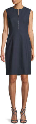Elie Tahari Galiena Zip-Front Sleeveless Tonal Plaid Sheath Dress