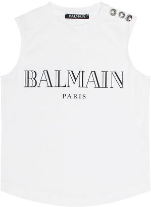 Balmain Kids Embellished cotton top