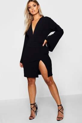 boohoo Plus Plunge Flare Sleeve Wrap Dress