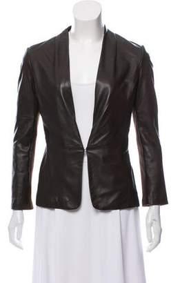 Halston Leather Collarless Jacket