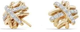 David Yurman Crossover Earrings With Diamonds In 18K Gold, 11Mm