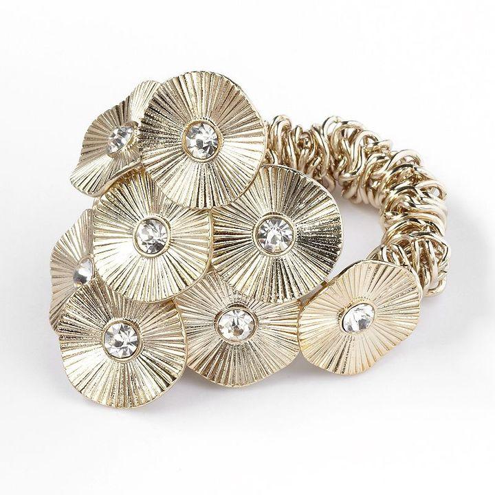 Vera Wang Simply vera gold tone simulated crystal disc stretch bracelet
