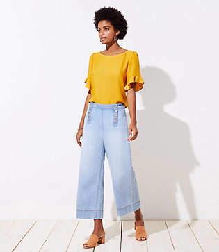 LOFT Modern Wide Leg Crop Sailor Jeans in Classic Light Indigo Wash