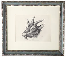 Fabled Animal Wall Art in a Blue Frame - Goat - New!
