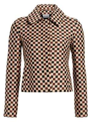 Akris Punto Chess Check Jacquard Crop Jacket