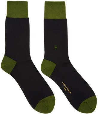 Comme des Garcons Homme Black and Green Colorblock H Socks