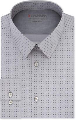 Calvin Klein X Men's Extra-Slim Fit Temperature Regulating Stretch Gray Print Dress Shirt