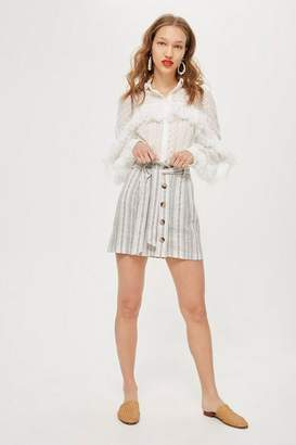 Topshop Striped Linen Paperbag Mini Skirt