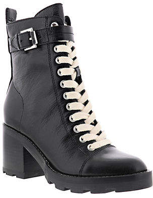 Marc Fisher Waren Leather Lace-Up Booties