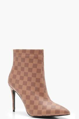 boohoo Contrast Check Pointed Toe Stiletto Shoe Boots