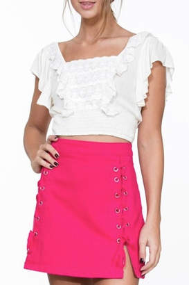 En Creme Pink Denim Skirt