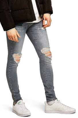 Topman Ripped Spray-On Skinny Fit Jeans