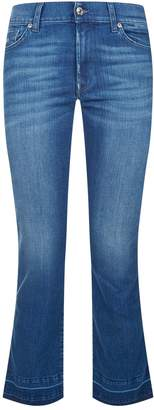 7 For All Mankind Cropped Unhemmed Bootcut Jeans