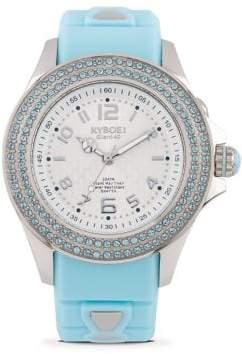 Swarovski Radiant Serenity Crystal & Silicone Strap Watch/Light Blue