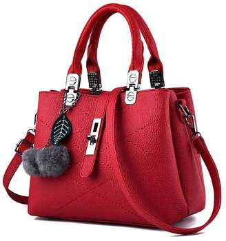 Women Handbag,Ladies purses,Lucky Gourd Size Tote Vintage Crossbody-bags with Furry Pom Pom Ball