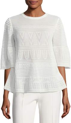 M Missoni 3/4-Sleeve Rib-Stitched Top