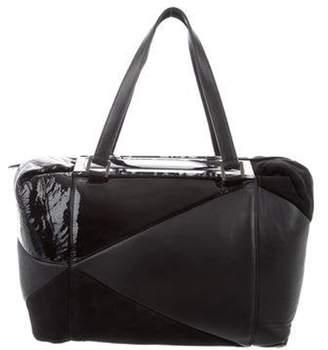 Fendi Suede-Trimmed Shoulder Bag Black Suede-Trimmed Shoulder Bag