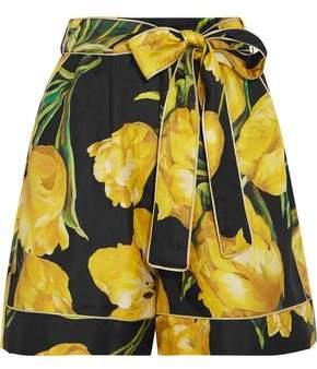 Dolce & Gabbana Floral-print Silk-twill Shorts