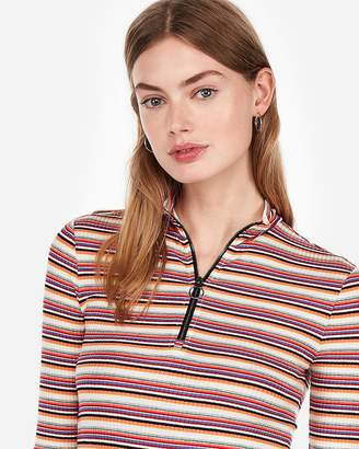 Express One Eleven Striped Zip Front Tee