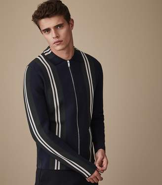 Reiss ASHTON Striped zip through top