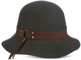 Scala Women's Faux Suede Trim Raw Edge Cloche Hat
