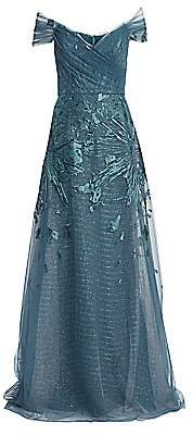 Teri Jon by Rickie Freeman Women's Off-The-Shoulder Embellished Tulle Gown