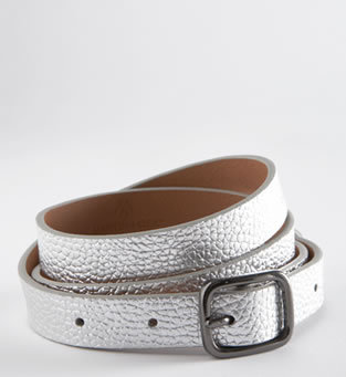 The Osa Skinny Metallic-Leather Belt