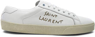 Saint Laurent Leather Court Classic Metallic Embroidery Sneakers
