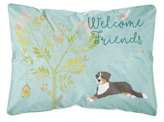 Winston Porter Seabrooks Welcome Friends Bernese Mountain Dog Indoor/Outdoor Throw Pillow Winston Porter