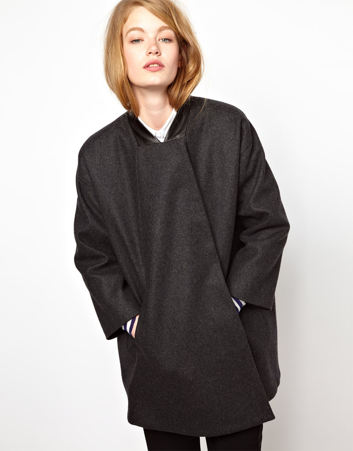 BZR Swing Coat with leather Collar in Fused Wool - Grey
