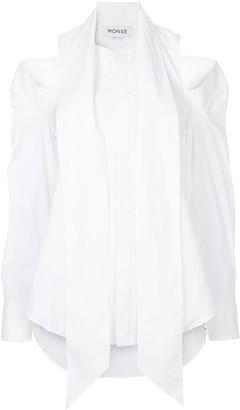 Monse cold shoulder neck tie shirt