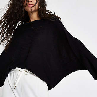 River Island Black knit kimono sleeve top