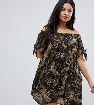 Brave Soul Plus Off Shoulder Jungle Dress