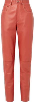 Gucci Leather Straight-leg Pants - Brick