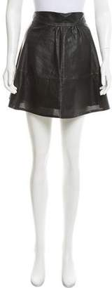 L'Agence Perforated Leather Skirt