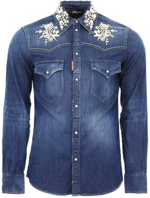 DSQUARED2 Denim Shirt With Floral Embroidery